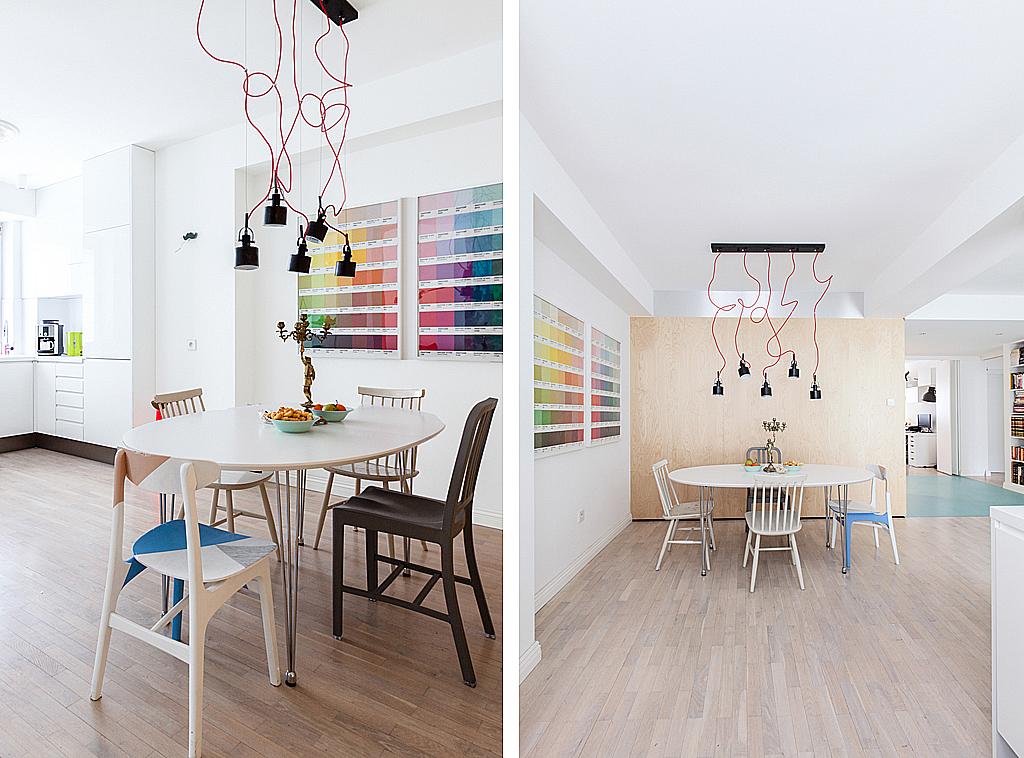 Jadalnia. Na pierwszym planie malowane krzesło od dziewczyn z MEBLOVE (www.meblove.eu)
